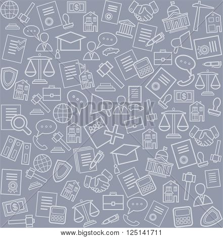 Vector seamless pattern with linear icons of legal services on a gray background.