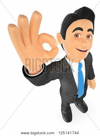 3d business people. Businessman with ok sign in hand. Isolated white background.