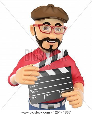 3d show business people. Film director with a clapperboard. Isolated white background.