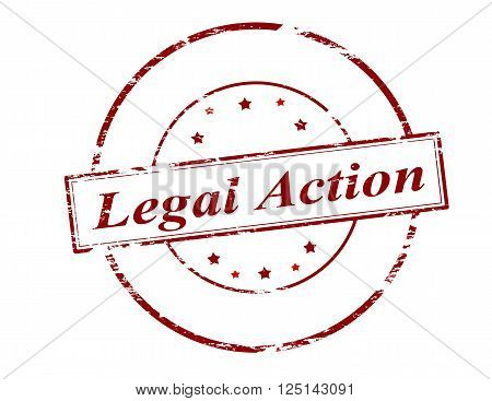 Rubber stamp with text legal action inside vector illustration