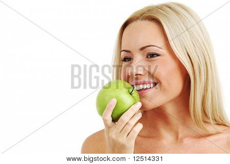 blond woman eat green apple