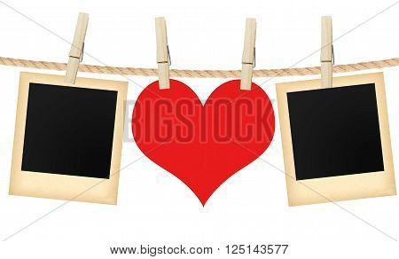 photo cards and heart hanging on rope isolated on white background