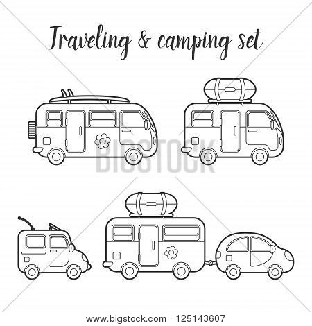 Vector transport caravan and trailer isolated icon set. Mobile home types vector illustration. Traveler truck vector icon. Family traveler truck summer trip concept. Logo or emblem concept