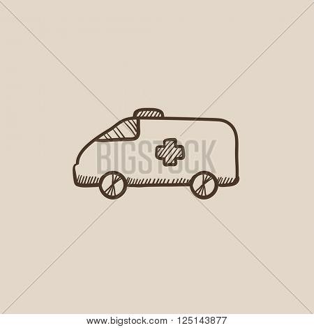 Ambulance car sketch icon.