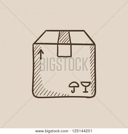 Carton package box sketch icon.