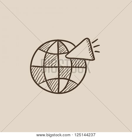 Globe with loudspeaker sketch icon.