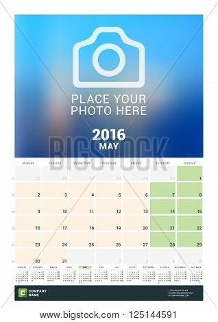 Calendar Template For May 2016. Week Starts Monday. Wall Calendar Planner Design Print Template. Vec