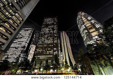famous skyscrapers of Shinjuku in Tokyo at night
