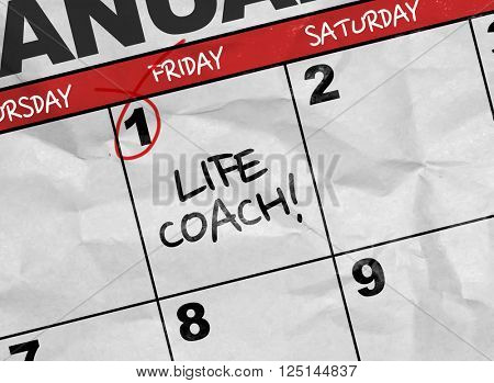 Concept image of a Calendar with the text: Life Coach