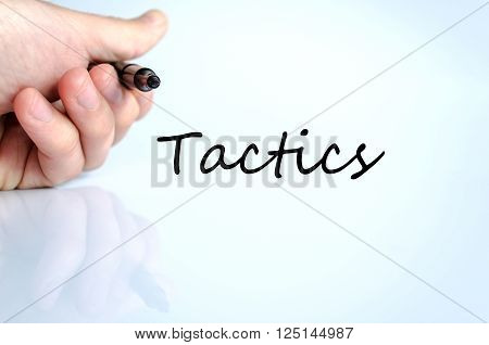 Tactics text concept isolated over white background