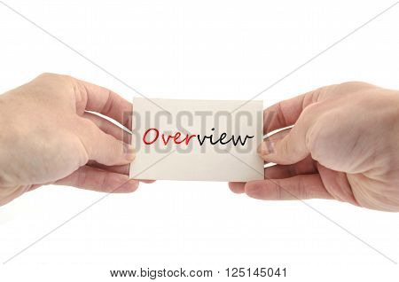 Human hand writing Overview isolated over white background - business concept