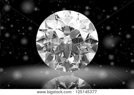 Diamond gem on black background.(high resolution 3D image).3D illustration