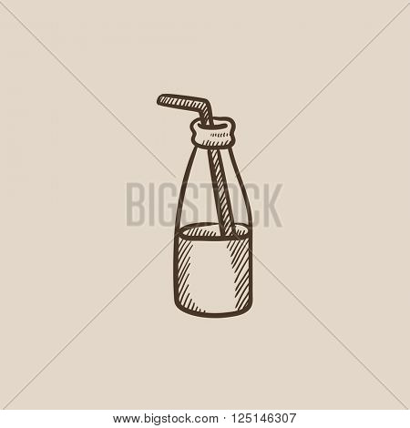 Glass bottle with drinking straw sketch icon.