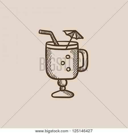 Glass with drinking straw and umbrella sketch icon.