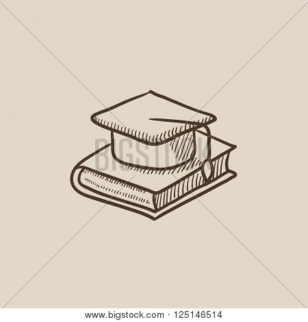 Graduation cap laying on book sketch icon.