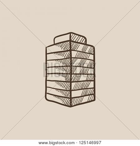 Office building sketch icon.