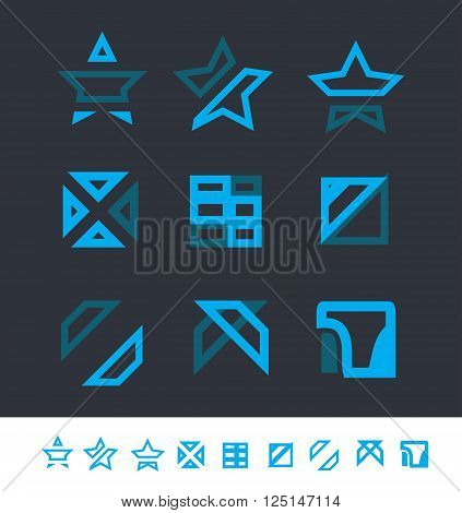 Vector company logo icon element template geometric set star square abstract