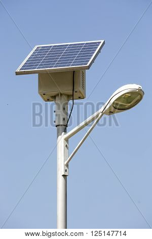 Street Lamp With A Solar Panel
