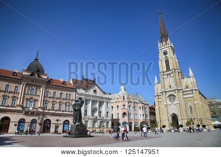 NOVI SAD SERBIA - APRIL 03: View of Liberty Square (Trg Slobode) in Novi Sad which in this city keeps the summer music festival EXIT. Photographed the in Novi Sad Serbia on April 03 2016