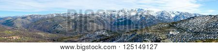Panoramic view of the mountains in sierra de Gredos regional park Avila Castile and Leon Spain