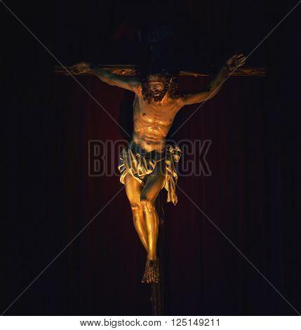 Jesus Christ crucified. Catholic religion symbol for faith