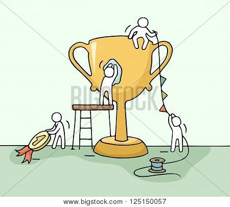 Sketch of working little people with cup teamwork. Doodle cute miniature scene of workers preparing for the ceremony. Hand drawn cartoon vector illustration for business design and infographic.