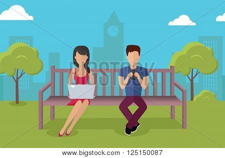 Internet addiction disorder technology. People man and woman game smartphone in park, web addict, internet dependence, technology mobile addiction, social web addiction vector illustration