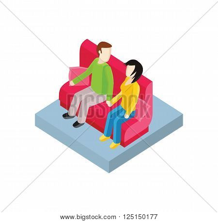 Couple on bench isometric design. Couple man and woman, love people together romantic, girlfriend and boyfriend, lover sitting, young two valentine, togetherness vector illustration