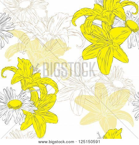 Seamless floral background with lilies and daisies