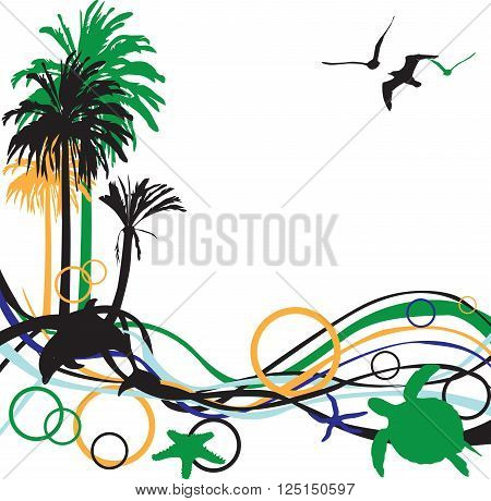 abstract background with palm trees and tropical inhabitants
