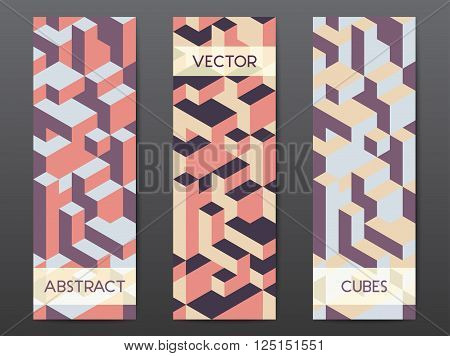 Abstract modern polygonal banner templates with colorful isometric cubes patterns, vertical format