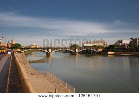 The bridge over the Guadalquivir river in Seville, Spain