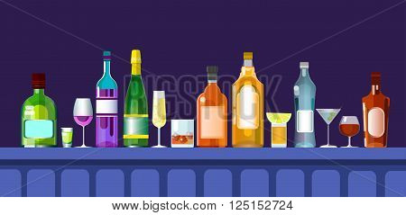 Bar Counter With Alcohol Drink Glasses, Bottle Set Collection Flat Vector Illustration