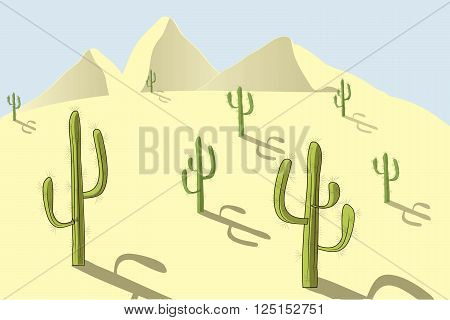 The landscape of the desert. Yellow sand, dunes, green cacti, blue sky, shadow, sunny day, design element, background, vector