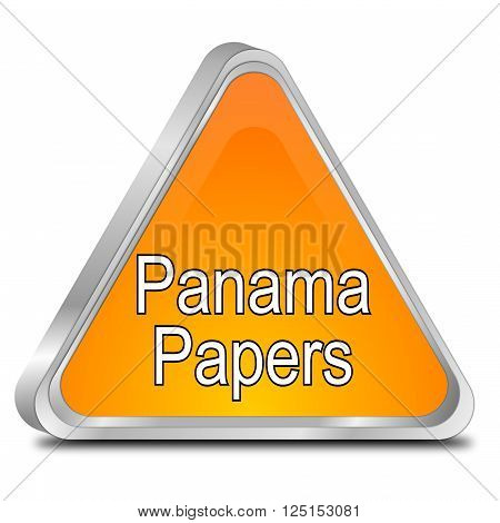 orange Panama Papers Button 3D Illustration on white background