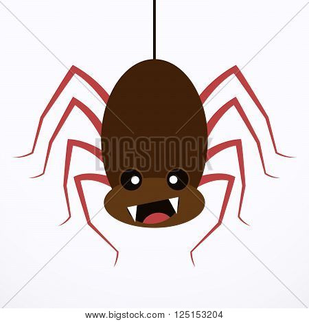 Spider icon - vector illustration on white background. Simple sign of happy spider in flat design.