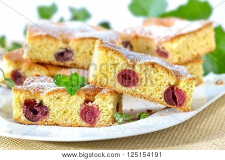 Delicious cuts of cherry cake with icing sugar and mint leaves served on a white plate