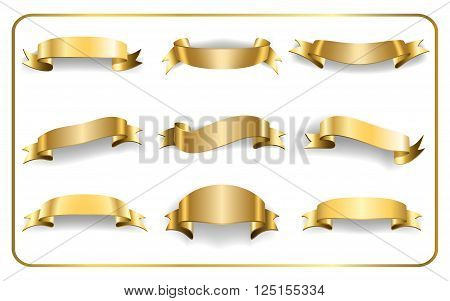 Gold ribbons set. Satin blank banners collection. Design label scroll blanks element isolated on white background. Empty template for greeting or advertising. Symbols decoration. Vector illustration
