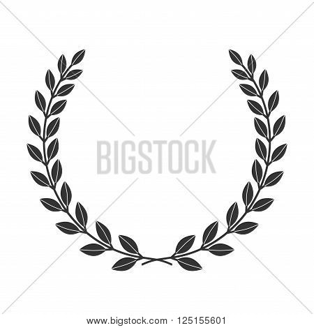 A laurel wreath icon border. Symbol of victory and achievement. Vintage design element for medal award coat of arms. Logo champion insignia in frame. Branch isolated on white. Vector illustration.