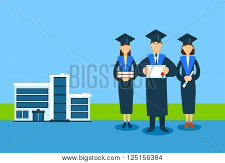Student Group Graduation Gown Hold Book Paper Diploma Sertificate, University Buiding Background Flat Vector Illustration