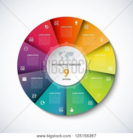 Vector infographic square template. Banner with 9 steps, stages, options, parts. Can be used for diagram, graph, pie chart, brochure, report, business presentation, web design.