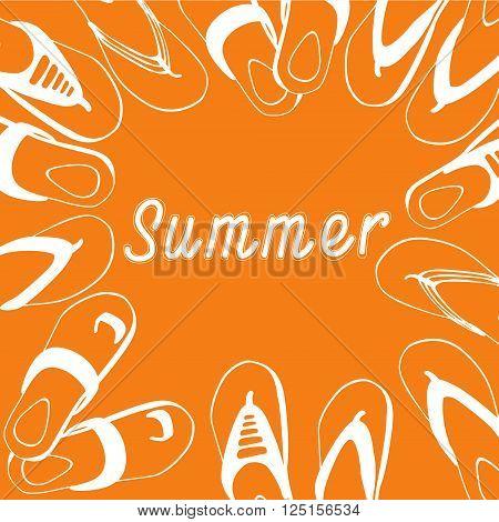 Flip Flops Icon Summer Slippers Foot Wear Set Collection Flat Vector Illustration