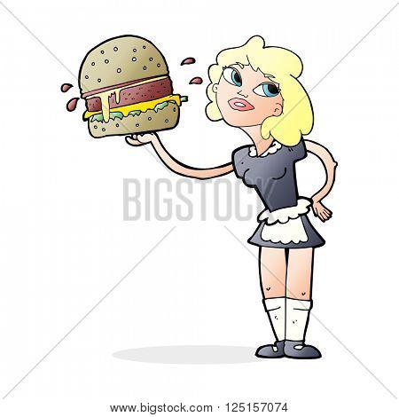 cartoon waitress serving burger