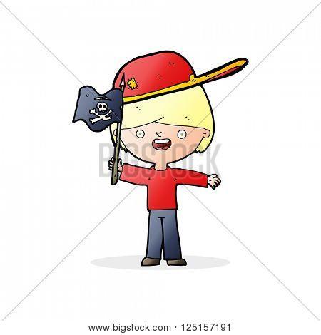 cartoon boy waving pirate flag
