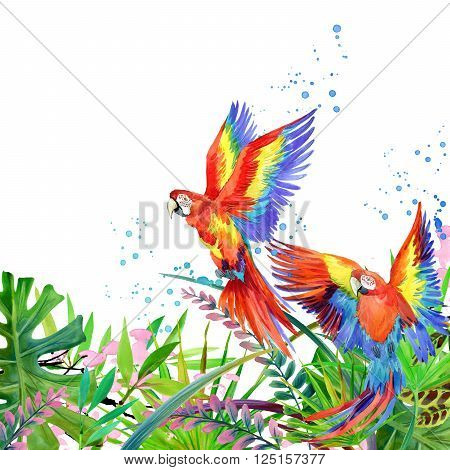 Tropical forest. Watercolor tropical forest. Parrot watercolor.