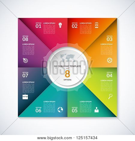 Vector infographic square template. Banner with 8 steps, stages, options, parts. Can be used for diagram, graph, pie chart, brochure, report, business presentation, web design.