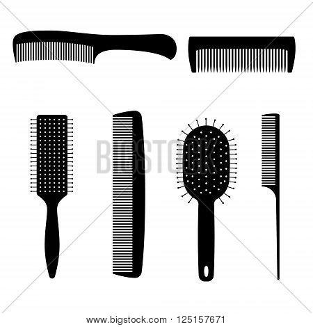 Set of vector black comb hair. Digital illstration