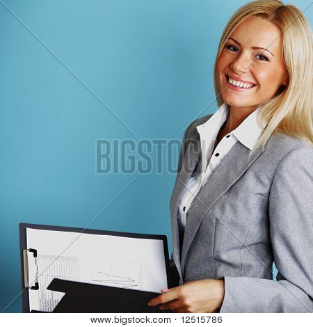 business woman hold a folder