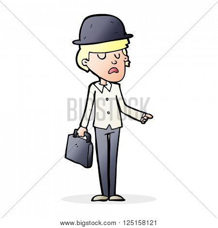 cartoon man with bowler hat