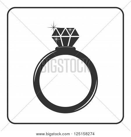 Diamond engagement ring icon. Shiny sparkle crystal sign. Black circle silhouette isolated on white background Flat fashion design element. Symbol engagement gift jewel expensive Vector Illustration